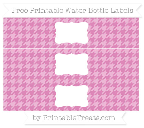 Free Pastel Fuchsia Houndstooth Pattern Water Bottle Labels
