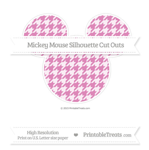 Free Pastel Fuchsia Houndstooth Pattern Extra Large Mickey Mouse Silhouette Cut Outs