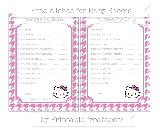 Free Pastel Fuchsia Houndstooth Pattern Hello Kitty Wishes for Baby Sheets