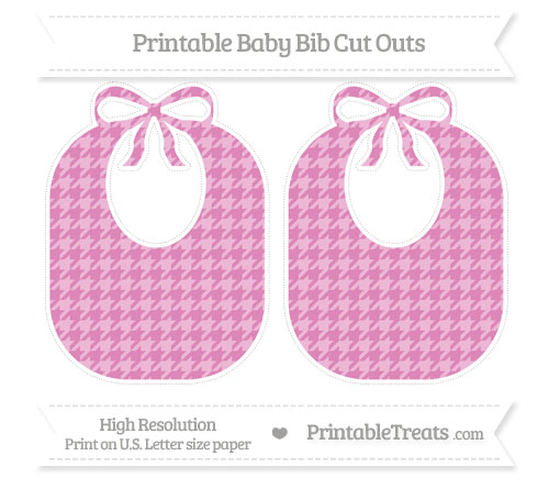 Free Pastel Fuchsia Houndstooth Pattern Large Baby Bib Cut Outs