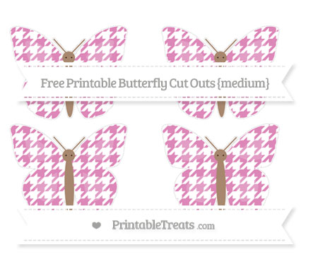 Free Pastel Fuchsia Houndstooth Pattern Medium Butterfly Cut Outs