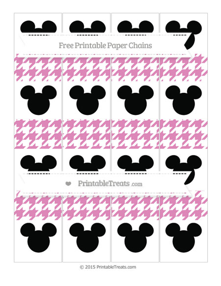 Free Pastel Fuchsia Houndstooth Pattern Mickey Mouse Paper Chains