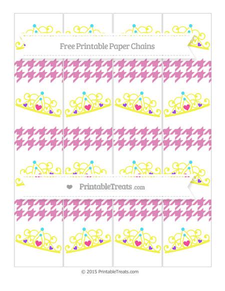 Free Pastel Fuchsia Houndstooth Pattern Princess Tiara Paper Chains