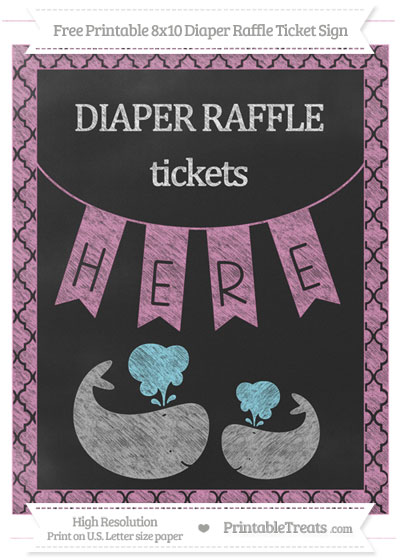 Free Pastel Fuchsia Moroccan Tile Chalk Style Baby Whale 8x10 Diaper Raffle Ticket Sign