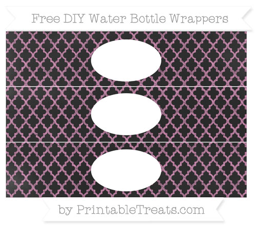 Free Pastel Fuchsia Moroccan Tile Chalk Style DIY Water Bottle Wrappers