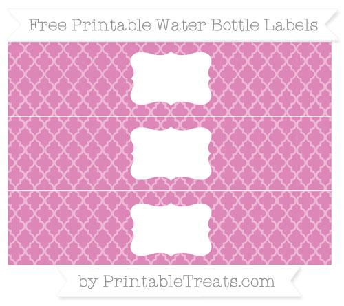 Free Pastel Fuchsia Moroccan Tile Water Bottle Labels