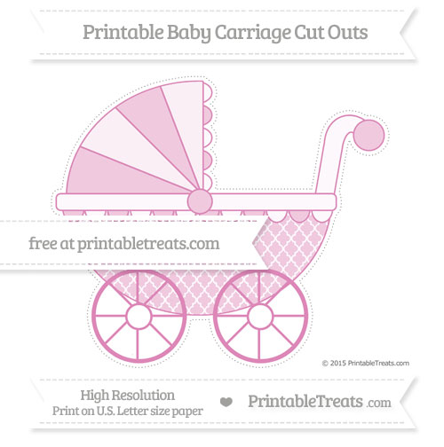 Free Pastel Fuchsia Moroccan Tile Extra Large Baby Carriage Cut Outs