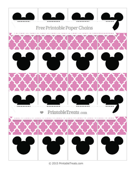Free Pastel Fuchsia Moroccan Tile Mickey Mouse Paper Chains
