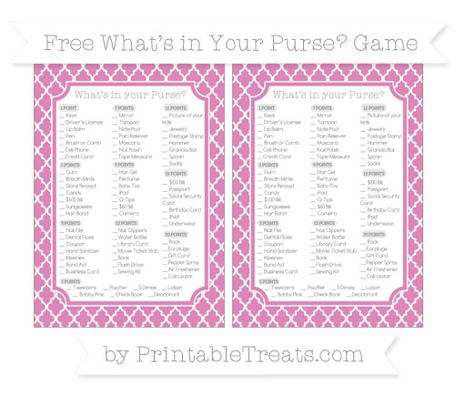 Free Pastel Fuchsia Moroccan Tile What's in Your Purse Baby Shower Game