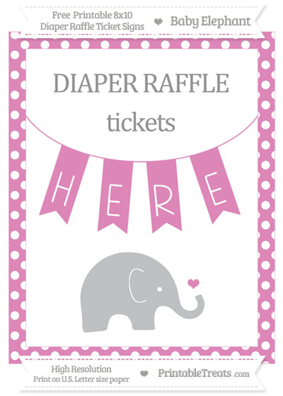 Free Pastel Fuchsia Polka Dot Baby Elephant 8x10 Diaper Raffle Ticket Sign