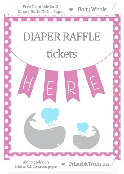 Free Pastel Fuchsia Polka Dot Baby Whale 8x10 Diaper Raffle Ticket Sign
