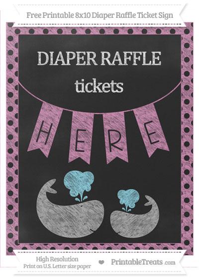 Free Pastel Fuchsia Polka Dot Chalk Style Baby Whale 8x10 Diaper Raffle Ticket Sign