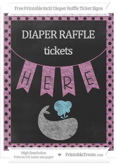 Free Pastel Fuchsia Polka Dot Chalk Style Whale 8x10 Diaper Raffle Ticket Sign