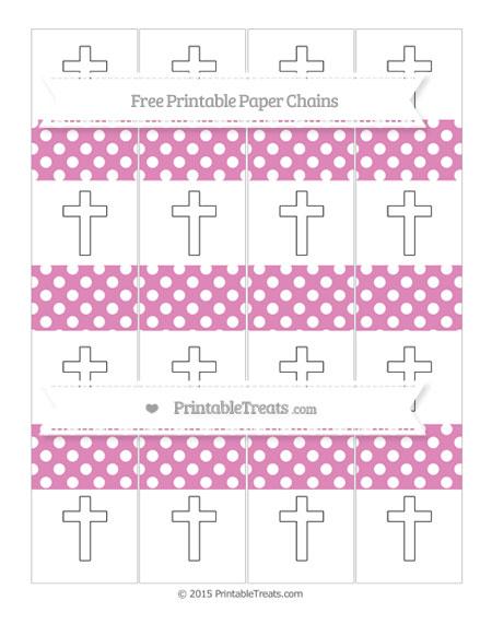 Free Pastel Fuchsia Polka Dot Cross Paper Chains