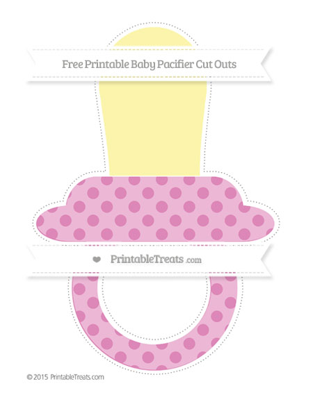 Free Pastel Fuchsia Polka Dot Extra Large Baby Pacifier Cut Outs