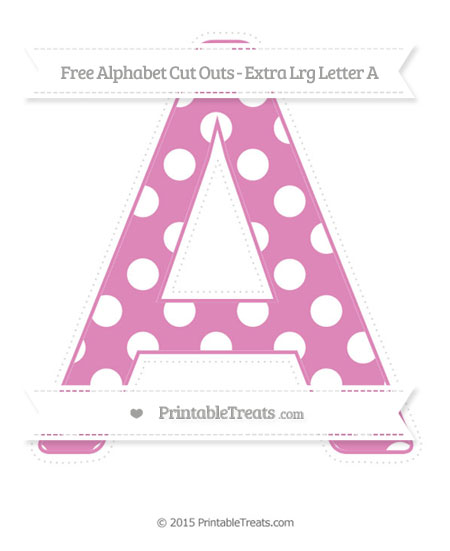 Free Pastel Fuchsia Polka Dot Extra Large Capital Letter A Cut Outs