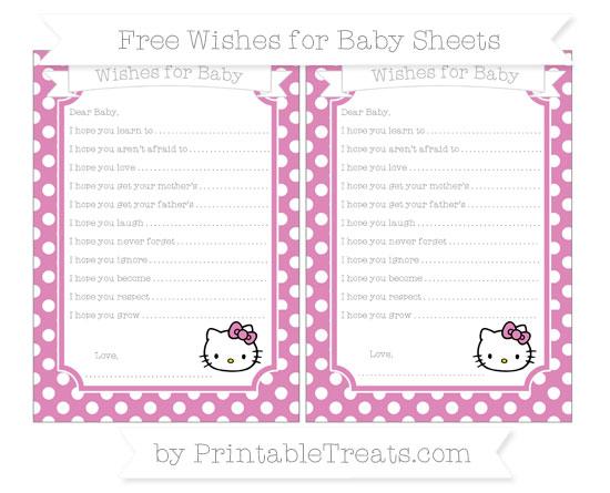 Free Pastel Fuchsia Polka Dot Hello Kitty Wishes for Baby Sheets