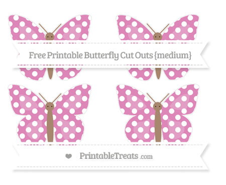 Free Pastel Fuchsia Polka Dot Medium Butterfly Cut Outs