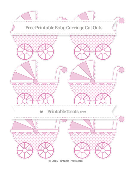 Free Pastel Fuchsia Polka Dot Small Baby Carriage Cut Outs
