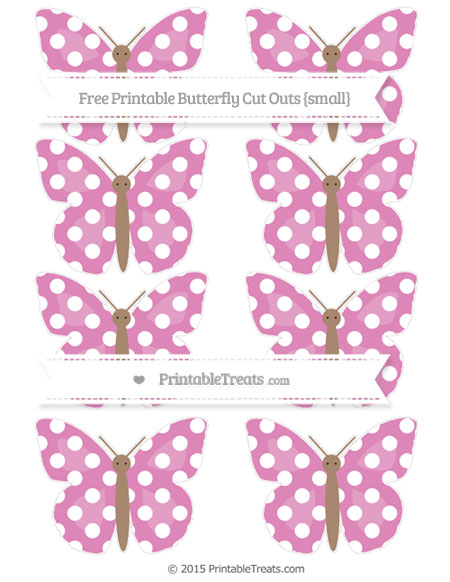 Free Pastel Fuchsia Polka Dot Small Butterfly Cut Outs