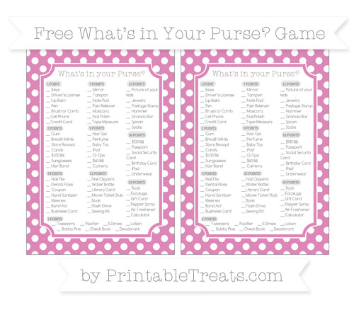 Free Pastel Fuchsia Polka Dot What's in Your Purse Baby Shower Game