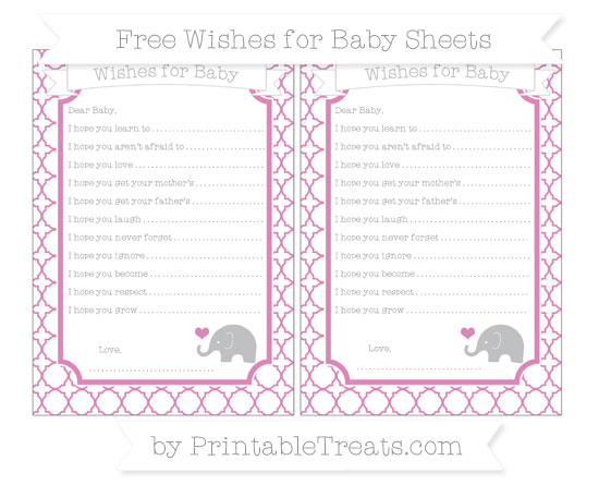 Free Pastel Fuchsia Quatrefoil Pattern Baby Elephant Wishes for Baby Sheets