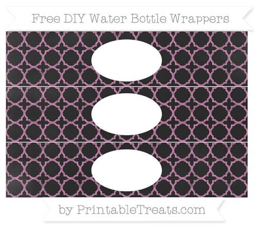 Free Pastel Fuchsia Quatrefoil Pattern Chalk Style DIY Water Bottle Wrappers