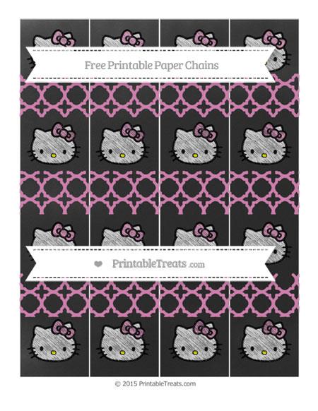 Free Pastel Fuchsia Quatrefoil Pattern Chalk Style Hello Kitty Paper Chains