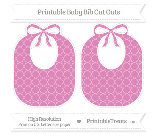 Free Pastel Fuchsia Quatrefoil Pattern Large Baby Bib Cut Outs