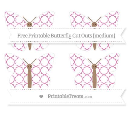 Free Pastel Fuchsia Quatrefoil Pattern Medium Butterfly Cut Outs