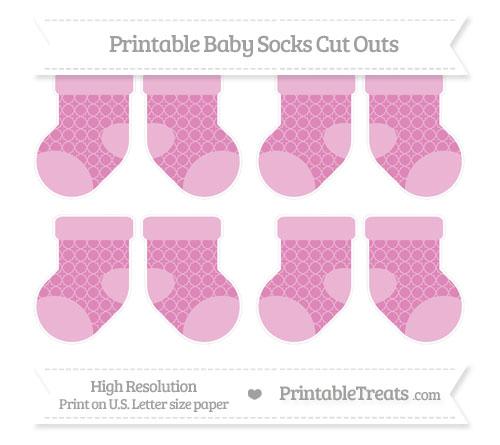 Free Pastel Fuchsia Quatrefoil Pattern Small Baby Socks Cut Outs
