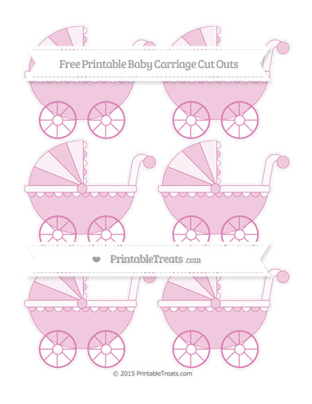 Free Pastel Fuchsia Small Baby Carriage Cut Outs