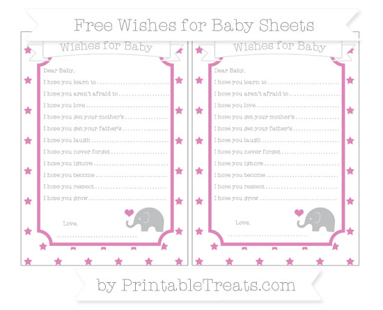 Free Pastel Fuchsia Star Pattern Baby Elephant Wishes for Baby Sheets