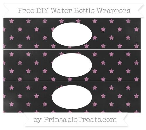 Free Pastel Fuchsia Star Pattern Chalk Style DIY Water Bottle Wrappers