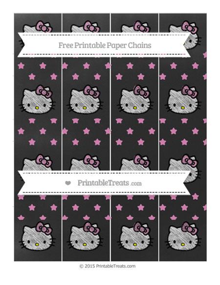 Free Pastel Fuchsia Star Pattern Chalk Style Hello Kitty Paper Chains