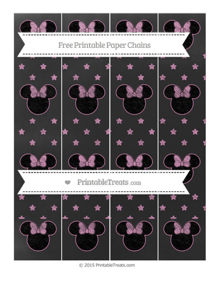 Free Pastel Fuchsia Star Pattern Chalk Style Minnie Mouse Paper Chains