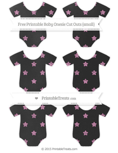 Free Pastel Fuchsia Star Pattern Chalk Style Small Baby Onesie Cut Outs