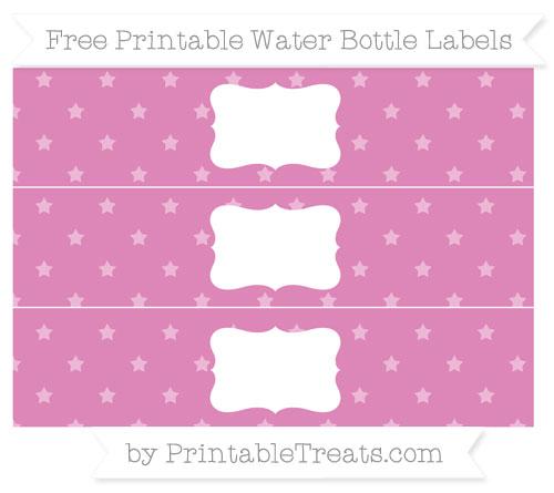 Free Pastel Fuchsia Star Pattern Water Bottle Labels