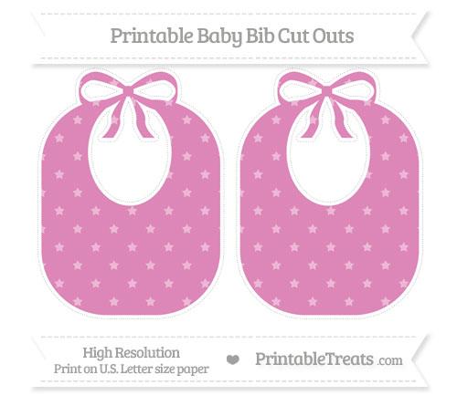Free Pastel Fuchsia Star Pattern Large Baby Bib Cut Outs
