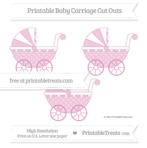 Free Pastel Fuchsia Star Pattern Medium Baby Carriage Cut Outs