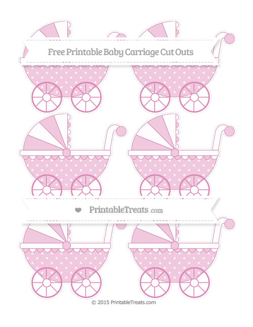 Free Pastel Fuchsia Star Pattern Small Baby Carriage Cut Outs