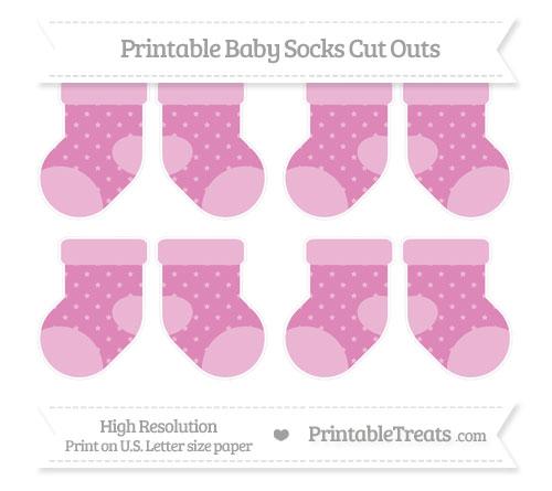 Free Pastel Fuchsia Star Pattern Small Baby Socks Cut Outs