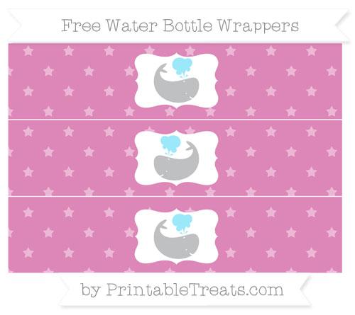 Free Pastel Fuchsia Star Pattern Whale Water Bottle Wrappers