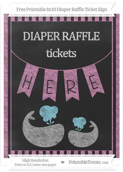 Free Pastel Fuchsia Striped Chalk Style Baby Whale 8x10 Diaper Raffle Ticket Sign