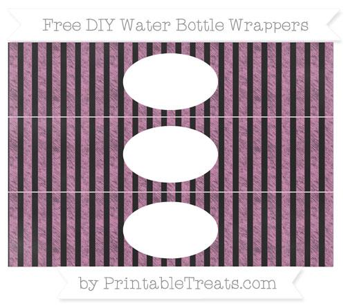 Free Pastel Fuchsia Striped Chalk Style DIY Water Bottle Wrappers
