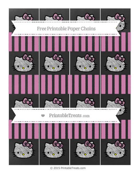 Free Pastel Fuchsia Striped Chalk Style Hello Kitty Paper Chains