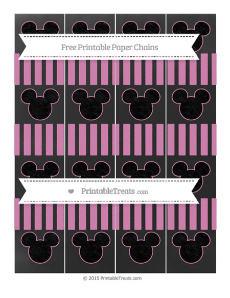 Free Pastel Fuchsia Striped Chalk Style Mickey Mouse Paper Chains