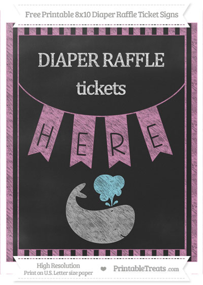Free Pastel Fuchsia Striped Chalk Style Whale 8x10 Diaper Raffle Ticket Sign