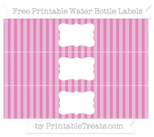 Free Pastel Fuchsia Striped Water Bottle Labels