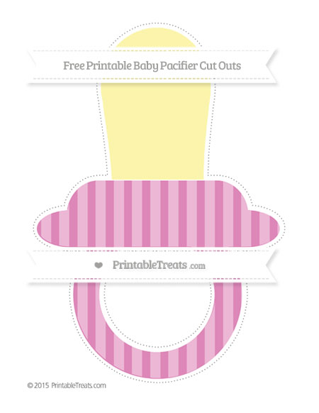 Free Pastel Fuchsia Striped Extra Large Baby Pacifier Cut Outs